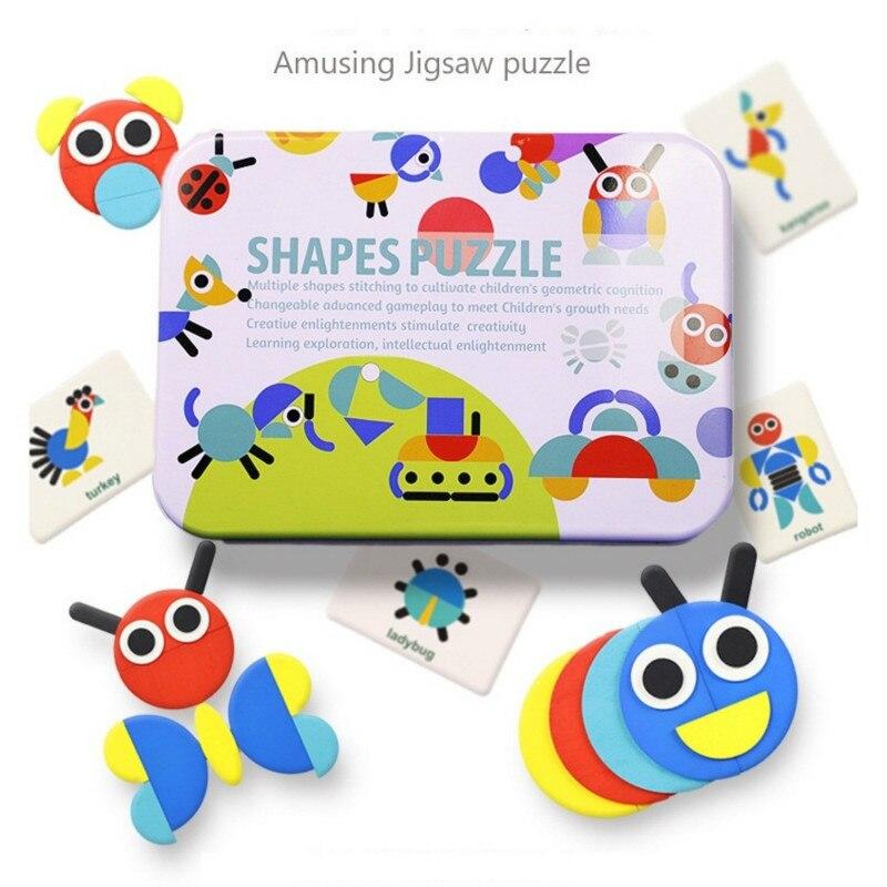 50pcs/60pcs Cards 3D Puzzle Set Montessori Toys For Kids Children Boys Oyuncak Juegos Educativos Kids Jigsaw Tangram 55