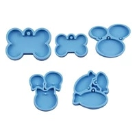 5 pieces dog tag epoxy resin mold circle cats dogs bone keychain pendant silicone mould diy crafts jewelry casting tool