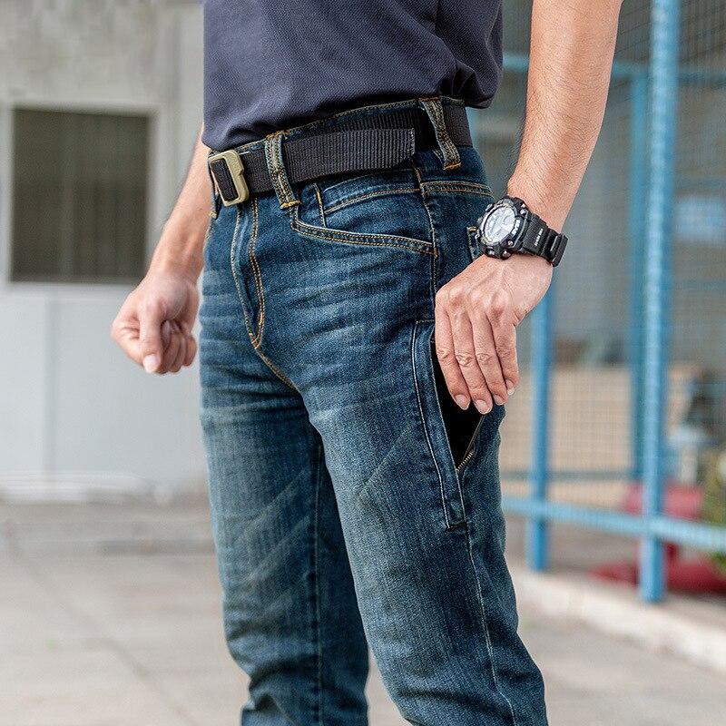 Calças de Brim Resistente ao Desgaste Meados de Cintura Calças de Cowboy Tático Masculino Militar Multi-bolso Clássico Reta Pantalon Homme
