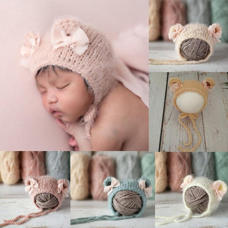 AliExpress - KLV Crochet Mohair Baby Hat Hat Newborn Photography Props Hat Cute Bowknot Knitted Beanies Cap Baby Bonnet Shower Gift