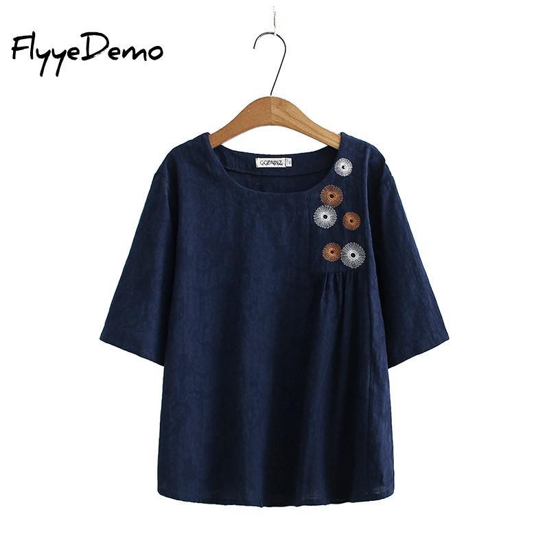 Nuevo coreano bordado de flores de las mujeres 2021 camiseta de verano...