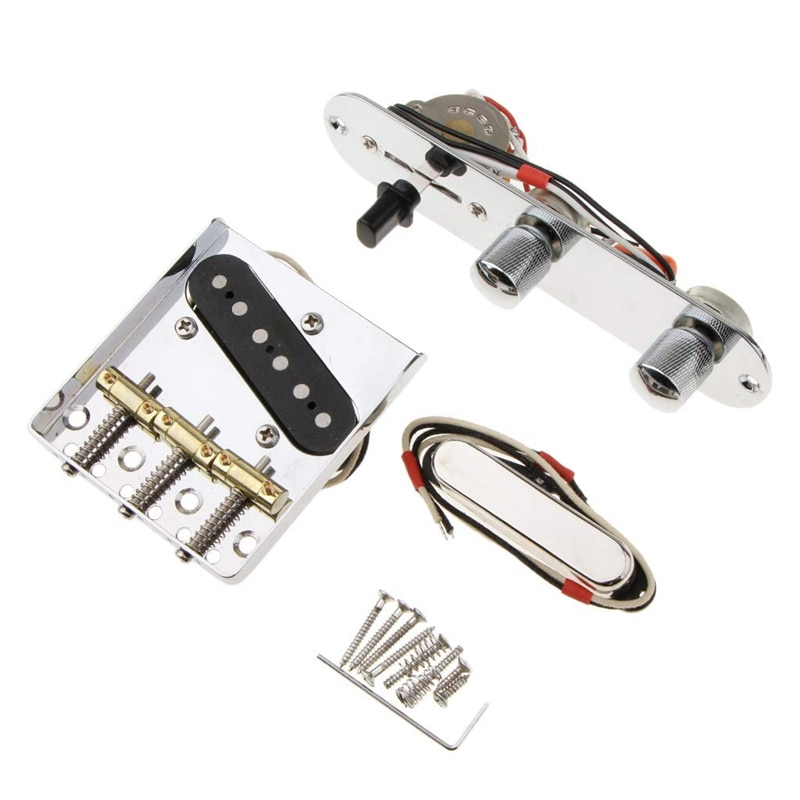 6 Strings Saddle Bridge Plate, 3 Way Switch Control Plate, Neck Pickup Set for Fender Electric Guitars Replacement Parts enlarge