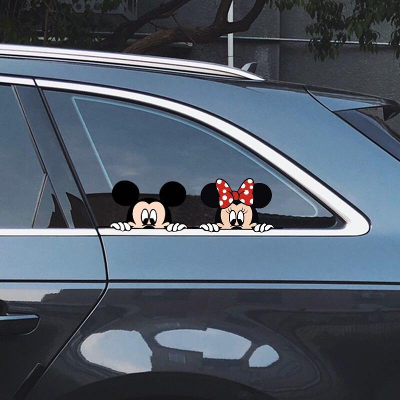 Disney Minnie Cartoon Car Door Seam Sticker Car Decoration Sticker Lovers Cute Scratch Sticker Side Door Block Bumper