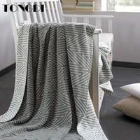 tongdi soft warm fashionable geometric plaid knitting wool blanket luxury pretty decor for summer office handmade sleeping