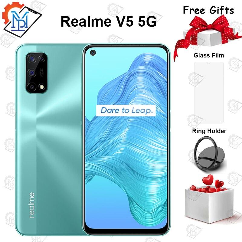 Оригинальный Realme V5 5G мобильный телефон 6,5 дюймов 6 ГБ 128 Dimensity 720 Android 10 5000 мА/ч, Батарея 48MP Quad Camera Smartpone