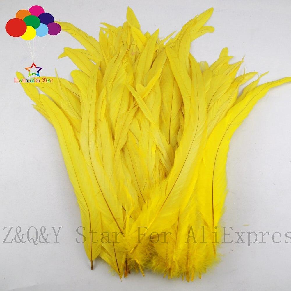 Natural 25-30CM (10-12 pulgadas) Cola de gallo de teñido amarillo 20-200PCSDIY craft jewelry show disfraz decoración pluma