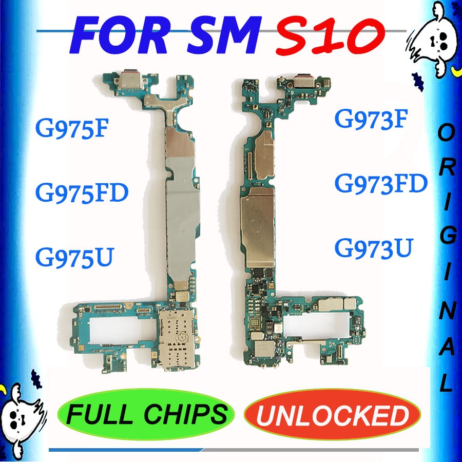 Placa base de 128GB para Samsung Galaxy S10 G973F G973FD G973U G975F G975FD G975U placa base desbloqueada con Chips completos