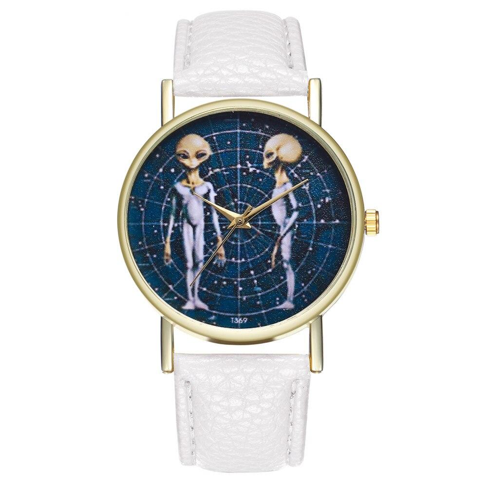 Reloj de cuarzo informal para niños, correa de cuero blanco para hombres, esfera de aleación dorada para Alien, reloj de pulsera para niños, regalo para niñas T369