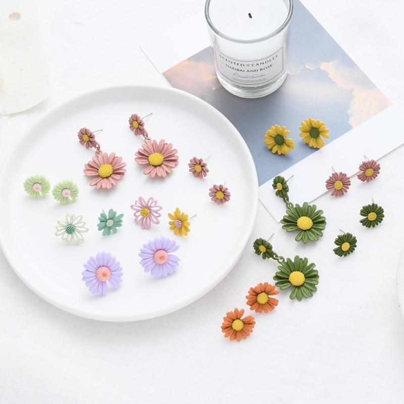 Pendientes de temperamento con flores de margaritas simples y frescos de estilo coreano para verano, accesorios de joyería de moda para mujer