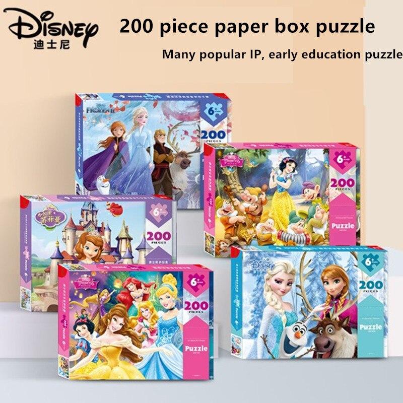 Дисней мультфильм Замороженная Принцесса 200 штук бумажная головоломка для детей образовательные игрушки Пазлы      АлиЭкспресс
