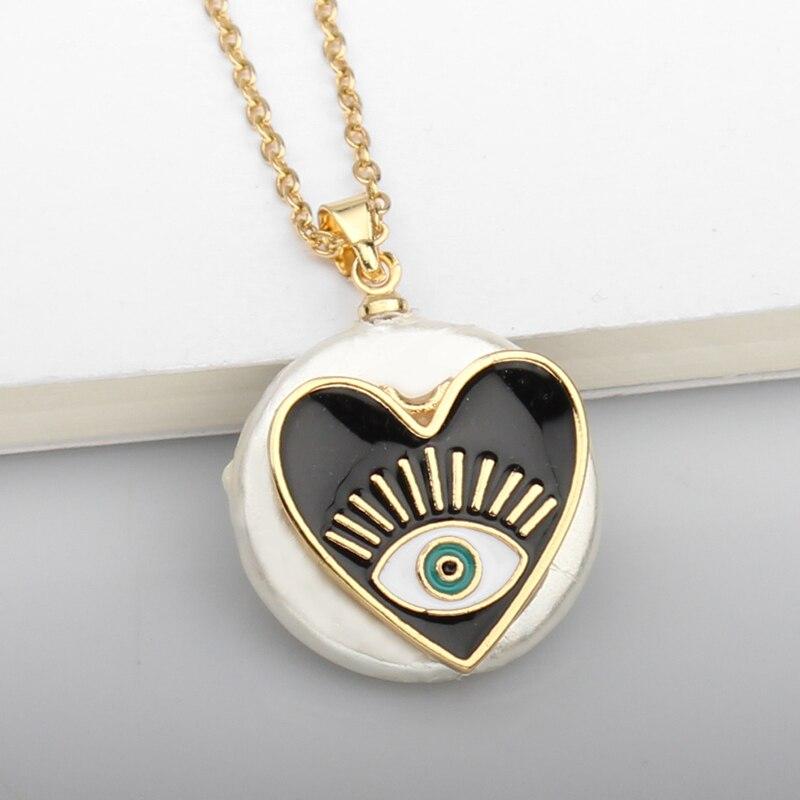 Collar de concha de corazón turco de mal de ojo Cadena de acero inoxidable de oro colgante redondo collares para mujer joyería de moda
