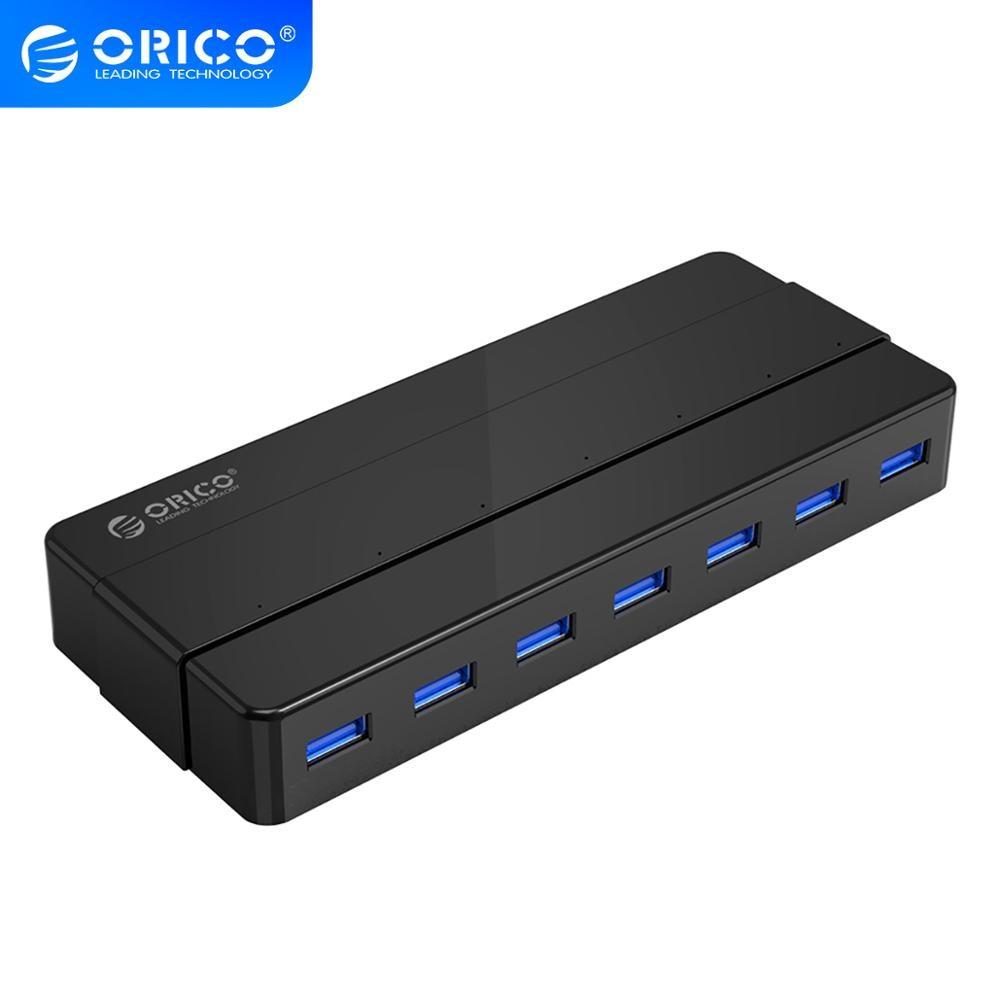 ORICO-موزع USB 3.0 ذو 7 منافذ ، محول طاقة 12 فولت ، موزع OTG ، ملحقات سطح المكتب ، الكمبيوتر المحمول