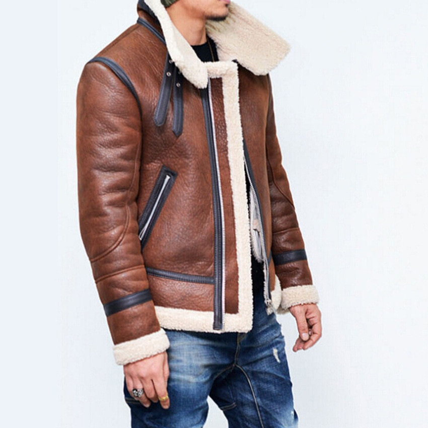 Brand Leather Jacket Men PU Leather Jacket Coat Male Thick Warm Wool Liner Motorcycle Leather Jacket