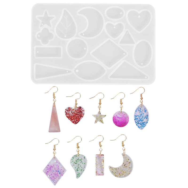Moldes de resina epoxi para hacer joyas, forma de corazón ovalado, pendiente redondo, colgante, collar, colgante, accesorios de silicona transparente DIY