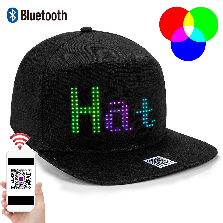 Algodón RGB Bluetooth programable a todo Color Matrix LED Hat Display Board, partido béisbol pescador de gorra sombrero DIY tapa de pantalla suave
