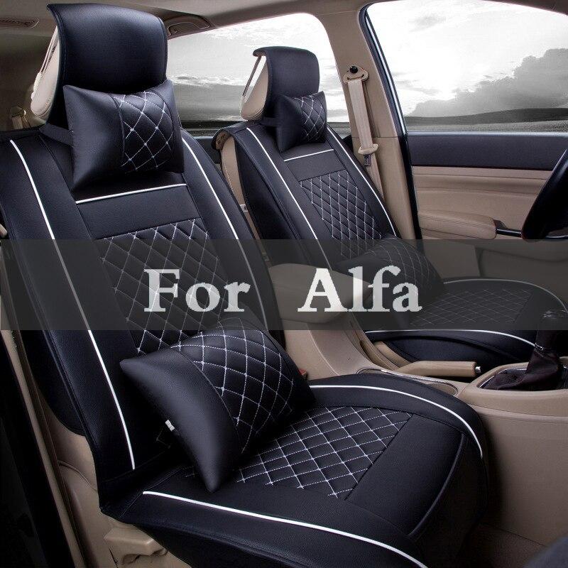 Tampas de assento decoração automática (frente + traseira + conjunto) couro especial assento do carro cadeira almofada capas para alfa romeo 147 156 159 166 4c 8c brera
