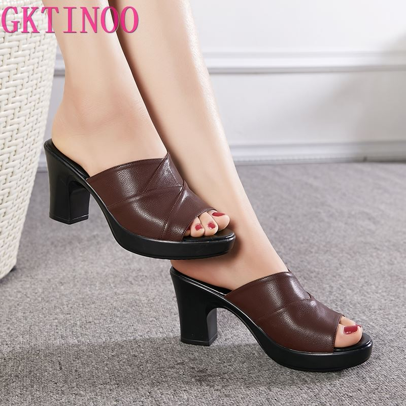 GKTINOO-صندل نسائي من الجلد الطبيعي بكعب عالٍ ، أحذية صيفية ، أحذية عصرية ، 2021