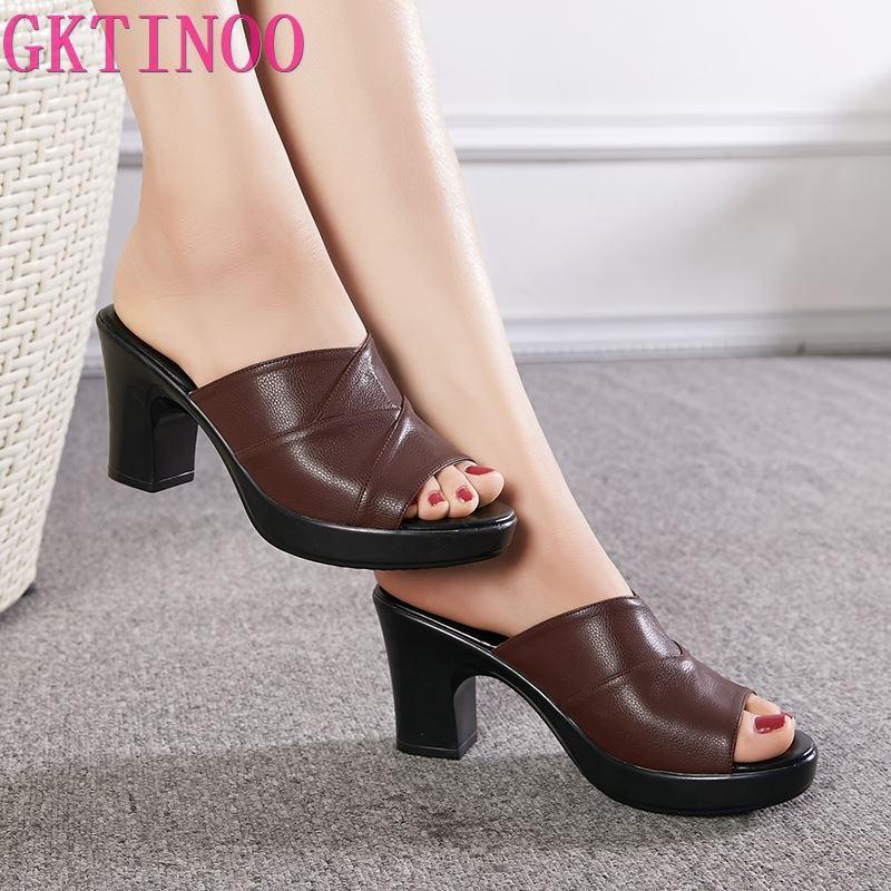 GKTINOO frauen Hausschuhe Aus Echtem Leder Sandalen 2020 Sommer High Heels Frauen Schuhe Frau Hausschuhe Sommer Sandalen Mode Schuhe