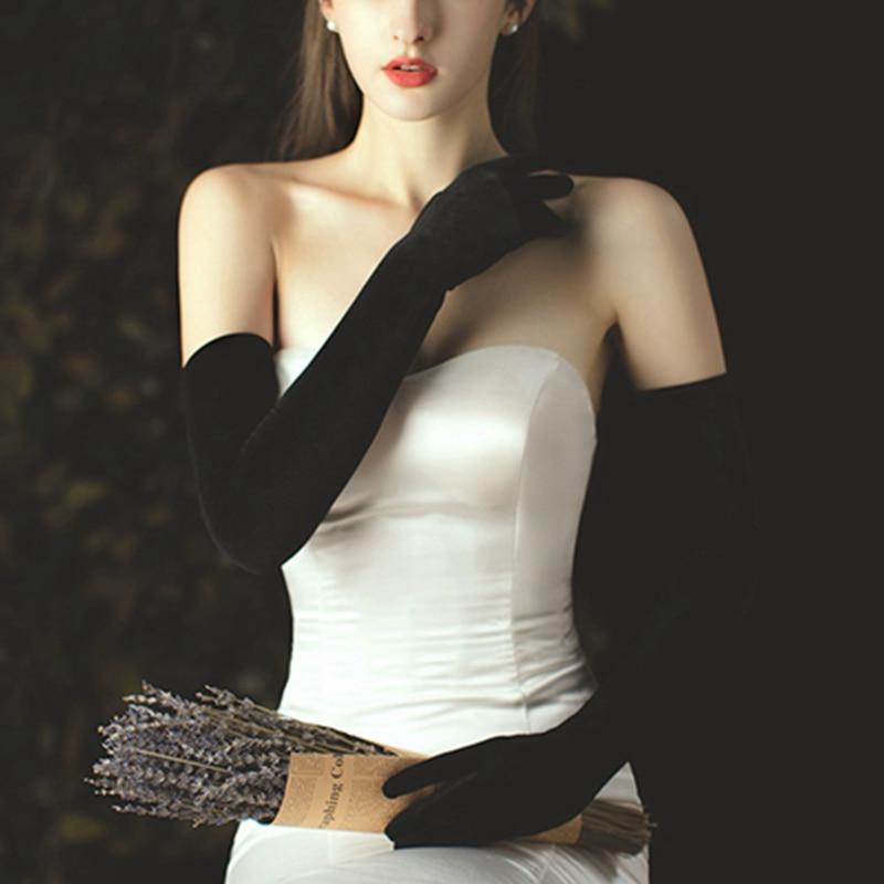 1 Pair Women Ladies 58cm Black Velvet Plain Satin Warm Thin Banquet Gloves Long Opera Flannel Dress Party Accessories KYY9038