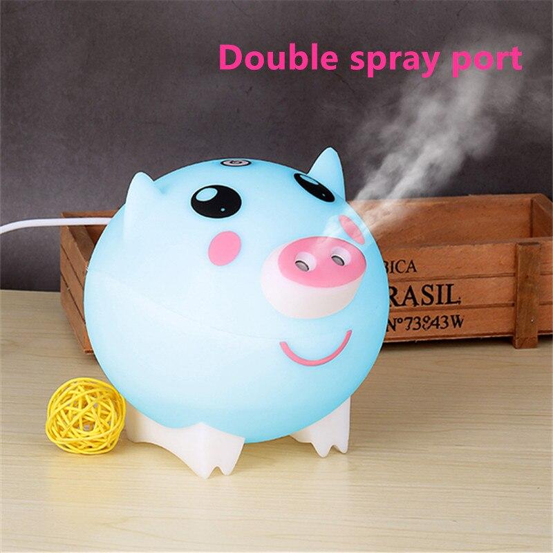 Nettes Schwein Ultraschall-luftbefeuchter Aroma Ätherisches Öl Diffusor Doppel Spray Outlet Große Nebel Bunte Lichter Für Home Office