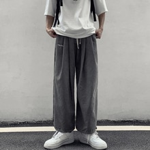 Pants Men's Fashionable Korean Ins Retro Fashionable All-Match Loose Wide-Leg Cropped Pants Straight