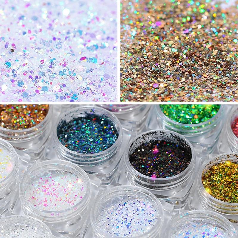 12Boxes/Set Holographics Nail Art Powder Mix Size Colorful Glittery Shiny Pigment Powder Dust for UV Gel Polish DIY Manicuring