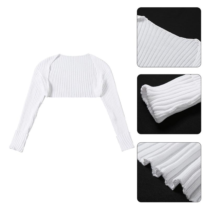 Women Autumn Vintage Long Sleeve Ribbed Knitted Bolero Shrug Open Front Loose So enlarge