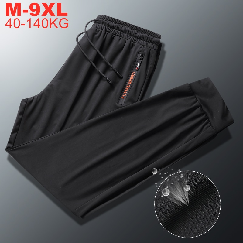 Summer Cool Men's Ice Silk Pants Large Size 9xl 8xl High Quality Elastic Trousers Casual Pants Men Breathable Sweatpants Male