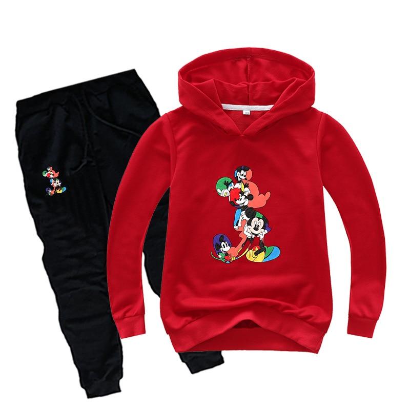 Primavera crianças conjunto de roupas do bebê menino menina hoodies moletom + calças 2 pçs roupas ternos do esporte mickey mouse criança crianças agasalho