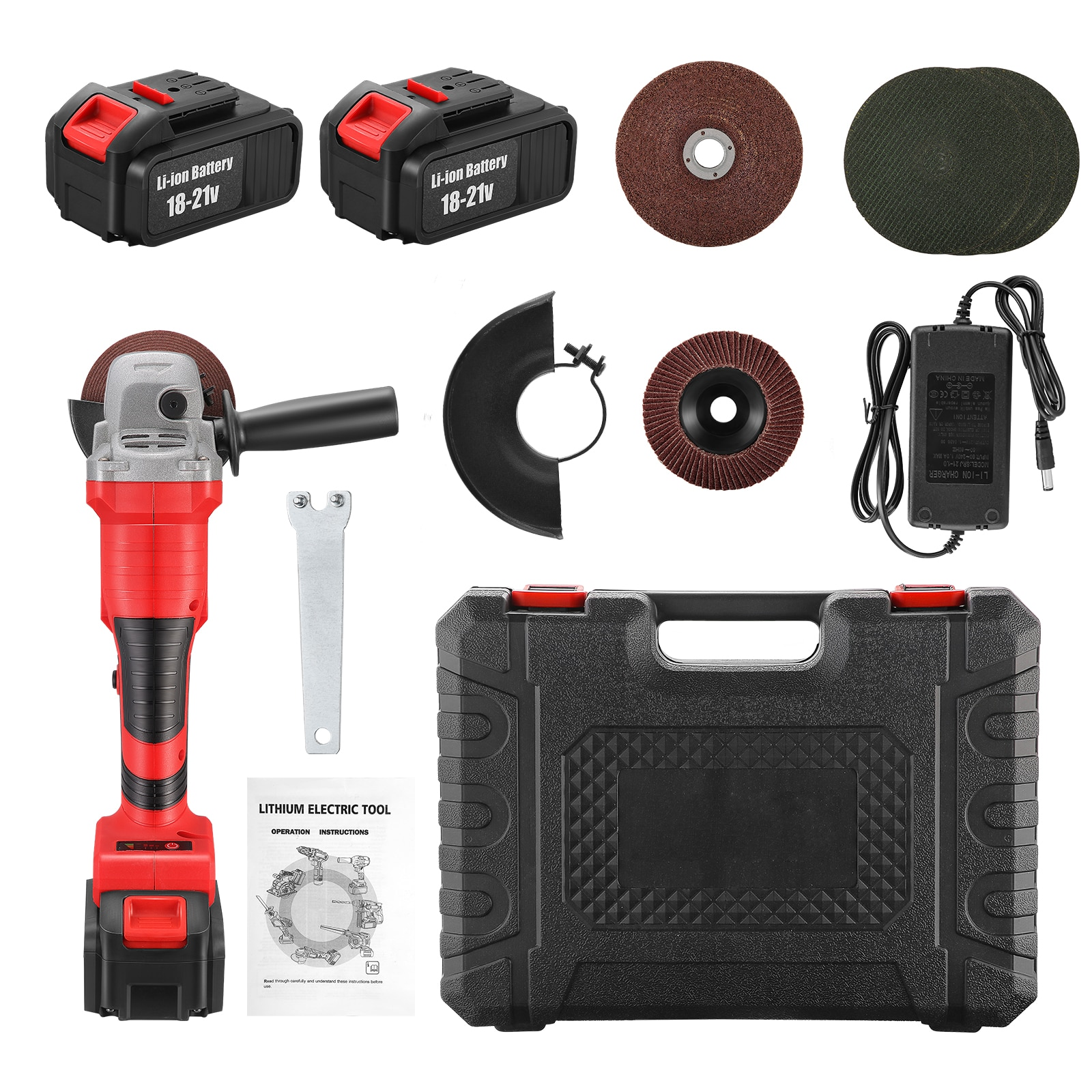 Cordless Angle Grinder Set 20V Max Brushless Motor 1-Position Auxiliary Handle, 5pc Saw Blade for Grinding Cutting Grooving