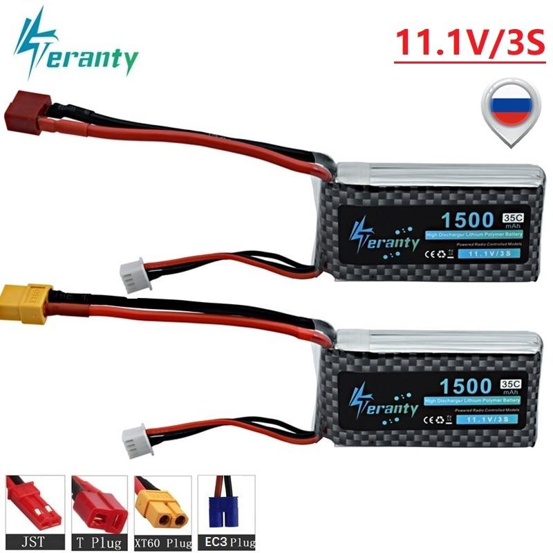 3 s lipo 11.1 v 1500 mah 35c lipo bateria t/xt60/jst/ec3 plugue para rc carro/avião/helicóptero 11.1 v recarregável lipo bateria 2 pces