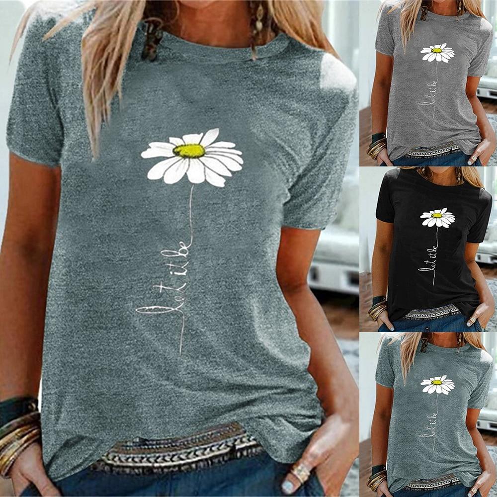 2020 Women's Flower Printed Top Round Neck Short Sleeve T-shirt Summer Top Loose T-shirt