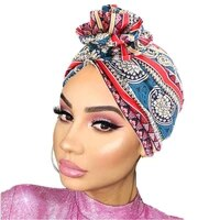 luxury brand chain print turban caps for women stretchy cotton hijab bonnet india hat muslim headscarf turbante mujer