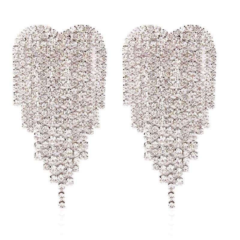 2021 New Rhinestone Long Tassel Claw Chain Earrings Simple Love Geometric Fashion Earrings For Women Wedding Temperament Jewelry