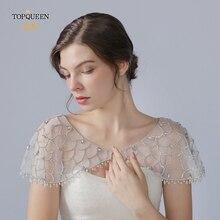 TOPQUEEN G14 Kristall Bling Weiß Braut Wraps Perlen Spitze Kurzen Mantel Hochzeit Schal Jacke Bolero Wrap Braut Hochzeit Wrap