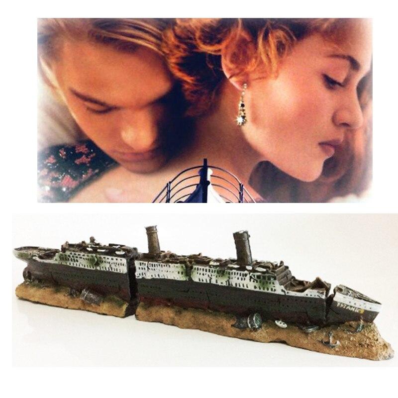 تايتانك فقدت حطام قارب سفينة حوض السمك زينة زخرفية حطام سفينة عسكرية