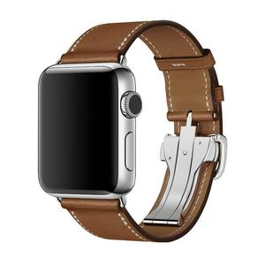 Leather Strap For watch band 4 44mm 40mm iwatch band 42mm 38mm Deployment Buckle bracelet watchband for watch 5 4 3 2