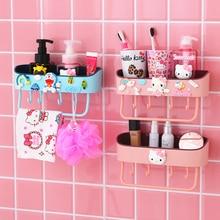 Hallo kitty bad waschraum lagerung rack organizer wand regal freies-stanzen becken handtuch rack küche gewürz rack wand regal