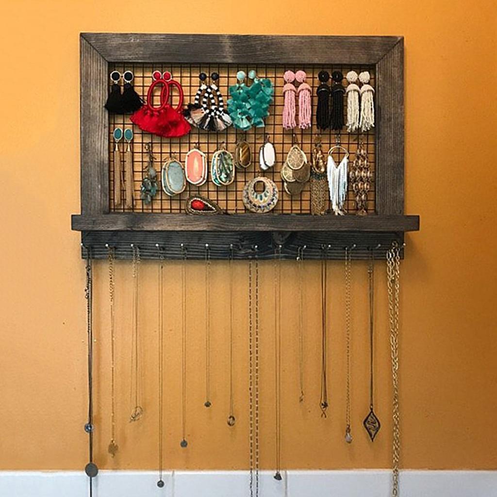 50 ^ organizador rústico de joyas de color marrón, soporte de madera montado en la pared para pendientes y collares, organización de accesorios de almacenamiento para el hogar