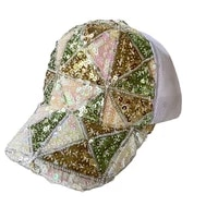 summer bling bling baseball cap with sequins adjustable closure travel outdoor fashion cool woman unisex stylish trucker hat
