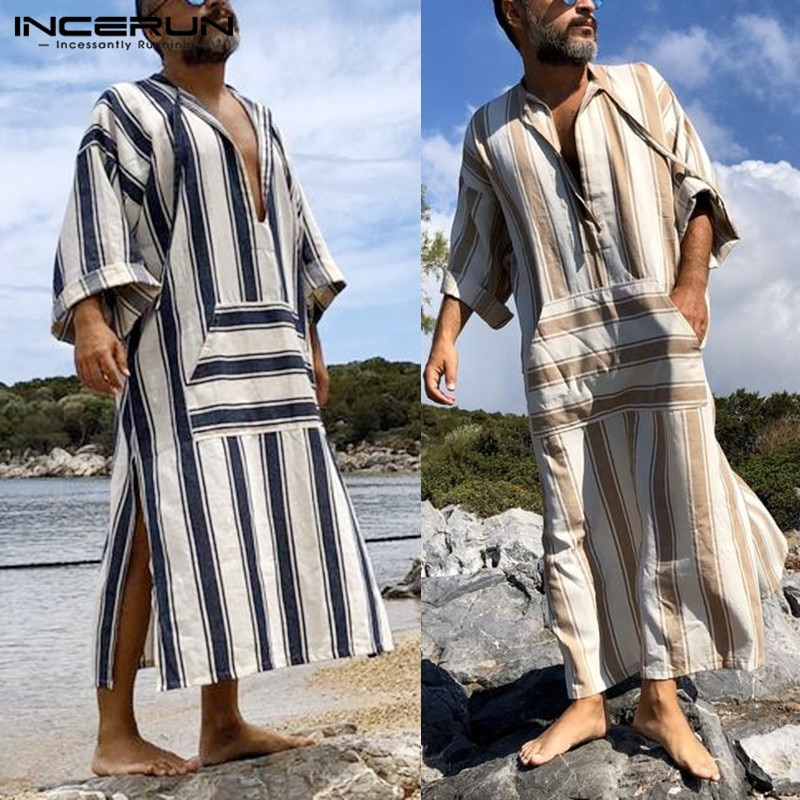 Мужская винтажная одежда в полоску с V-образным вырезом, свободная мусульманская одежда с длинным рукавом и шнуровкой, S-5XL