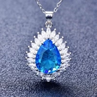blue crystal sapphires water drop zircon stone pendants necklace for women white gold flame pear shape cz wedding choker jewelry
