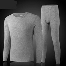 Winter Thermal Underwear Men Long Thermal Suit Polyester Comfortable Warm Tops + Pants Piece Set The