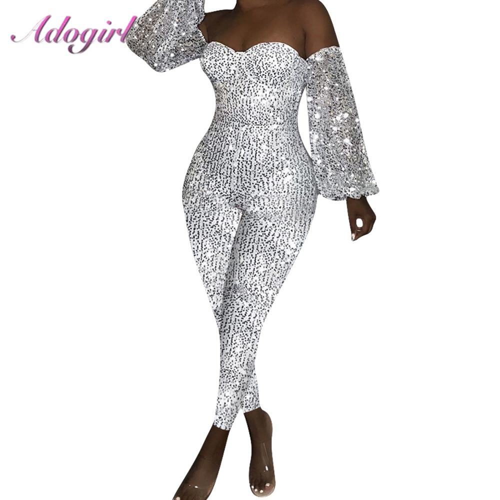 Adogirl Sexy Sequin Off Shoulder Deep V-Neck Night Party Club Jumpsuit Women Casual Lanter Long Sleeve Rompers Overalls Outfits