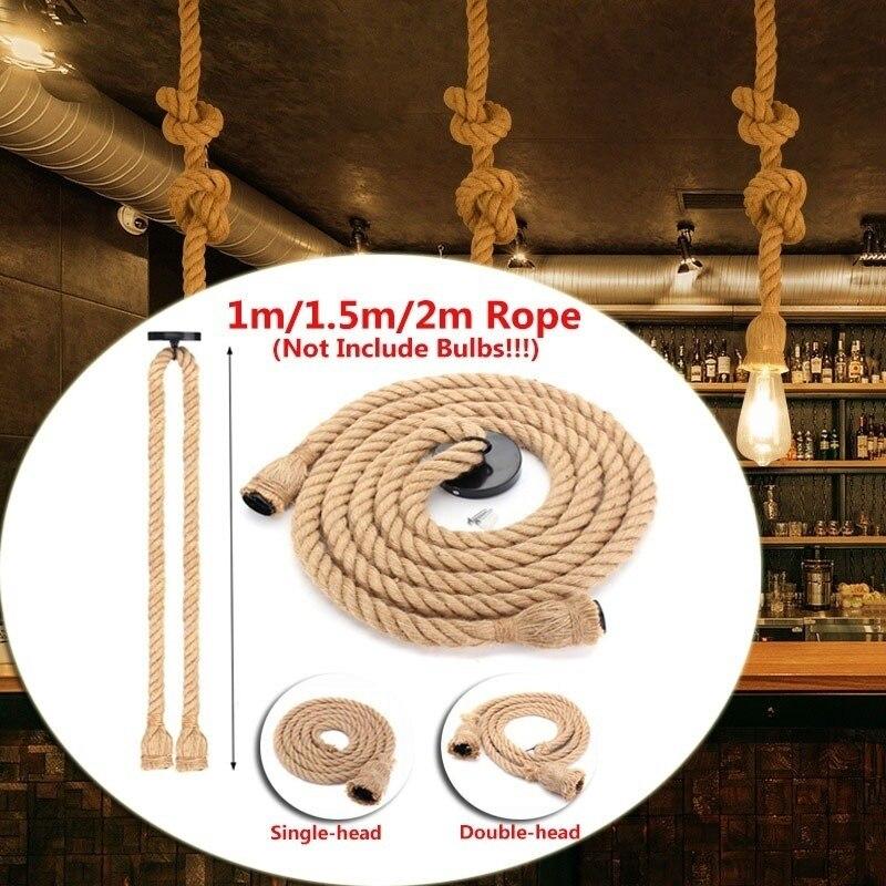 1m 15m 2m estilo do vintage unico cabecas duplas corda cabo pingente luzes loft lampada