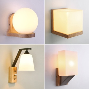 Wall Lamp with Switch Modern Minimalist Solid Wood Art Lamp Warm Living Room Study Reading Background Wall Aisle Bedside Lights