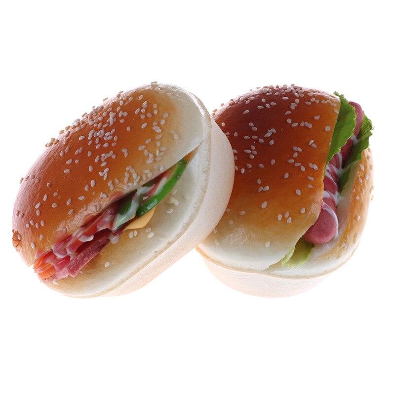 Simulación de hamburguesa falsa decoración hamburguesa apretón de pastel Hot Dog Squishy encanto pan Regalo De Correa juego de simulación juguetes de cocina