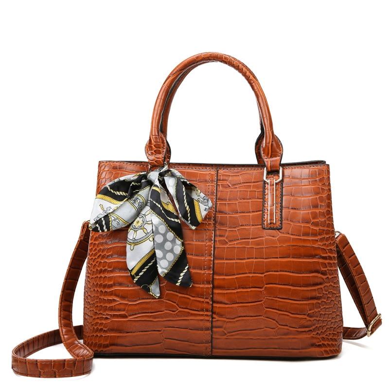 Ansloth Fashion Crocodile Pattern Bag Women New Luxury Brand Handbag Large Capacity Female Bags PU Leather Shoulder Bags Vintage