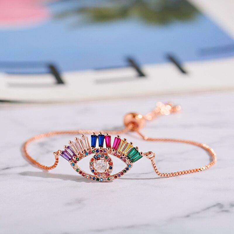 Moda feminina jóias pulseira feminino na moda arco-íris cz mau olho pulseira & pulseiras clássico lua pulseira presentes