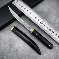 japan tang damascus fixed blade knife ebony outdoor camping hunting survival pocket utility edc tools self defense gift knifes
